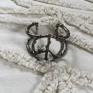 Lucky Brand Silver Peace Cuff